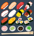 Japanese sushi collection set vector