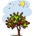 Summer tree with red apple vector