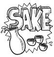 Doodle sake rice flask cup bottle vector