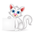 Cute fluffy white cat cartoon with blank sign vector