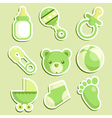Green baby shower icons vector