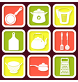 Set of 9 retro icons of kitchen utensils vector