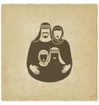 Muslim family parents with children vector