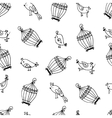 Seamless cute birds with cages pattern vector