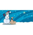 Snowman santa with sack greeting card vector