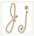 Rope alphabet letter j vector