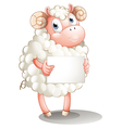 A sheep with a blank signboard vector
