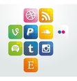 Web icon elements arrows with buttons social media vector