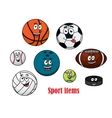 Cartoon sport ball characters vector