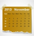 2013 calendar november colorful torn paper vector