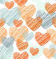 Doodle funny seamless pattern with orange and blue vector