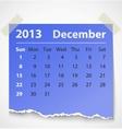 2013 calendar december colorful torn paper vector