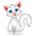 Cute fluffy white cat cartoon vector