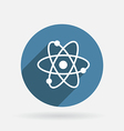 Atom molecule circle blue icon with shadow vector