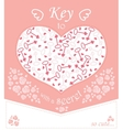 Cute design for greeting card with heart and roses vector