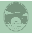 Airplane flies over the sea vector