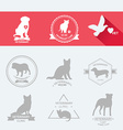 Set dog ans cats icon and labels flat vector