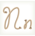 Rope alphabet letter n vector