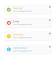 Success error warning info notification vector