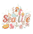 Cute fantasy summer sea card vector