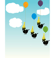 Birds tied to balloons vector