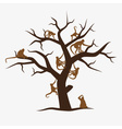 Brown monkey tree with a lot of monkeys eps10 vector