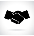 Handshake black flat icon with shadow vector