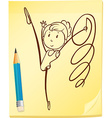 A simple drawing of a gymnast vector