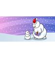 Snowman santa with gift greeting card vector