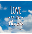 Blurred with clouds blue sky and text love vector