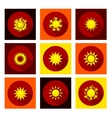 Sun icons set in flat style vector
