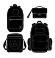 Set of 4 fashionable men bags black vector
