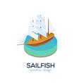Isometric sailboat icon vector