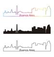 Buenos aires skyline linear style with rainbow vector
