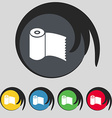 Toilet paper wc roll icon sign symbol on five vector
