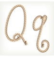Rope alphabet letter q vector