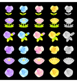 Flowers decorative icons sets vector