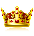 Gold crown with red gems vector