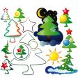 Icons and logos christmas trees vector