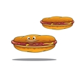 Two hotdogs with mustard and ketchup vector