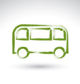 Hand drawn green bus icon brush drawing passenger vector