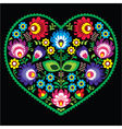 Polish folk art art heart with flowers - wycinanki vector