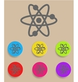 Atomic symbol icon with color variations vector