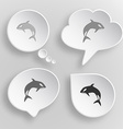 Killer whale white flat buttons on gray background vector