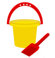 Beach toys- bucket and shovel vector