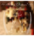 Merry christmas glasses of champagne on a vector