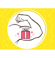 Strong man hand with icon of red gift bo vector