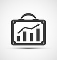 Icon briefcase with financial charts vector