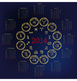 2014 calendar with horoscope vector