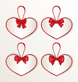 Set elegance cards heart shaped with silk bows vector
